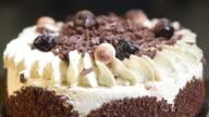 Chocolate cake on turntable video