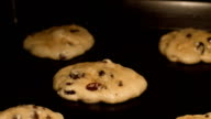 Chocolate chip and raisin cookies - time lapse HD video
