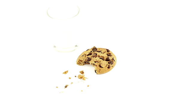 Chocolate chip cookie with milk video