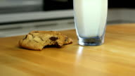 Chocolate chip cookies and milk, person grabs cookie video