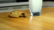 Chocolate chip cookies, person grabs milk video