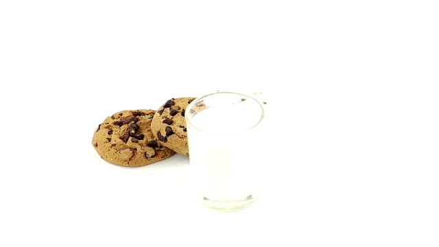Chocolate chip cookies with milk video