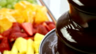 Chocolate fountain and fruit (HD) video