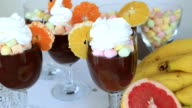 Chocolate pudding with whipped cream and fruits video