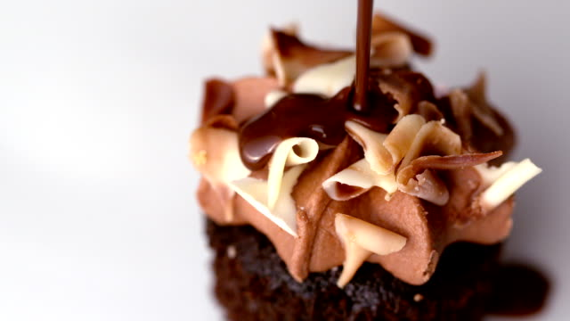 Chocolate sauce pouring over muffin video