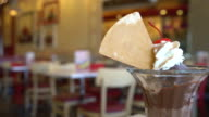 chocolate sundae ice-cream in cafe video
