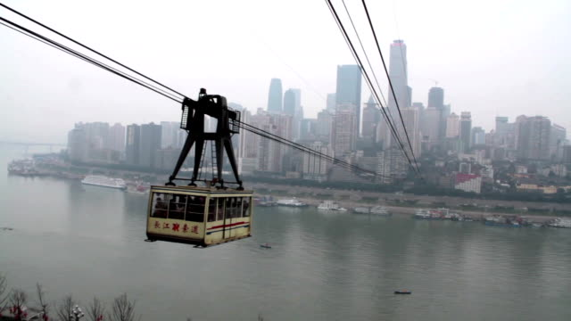 Chongqing Changjiang cableway at daytime video