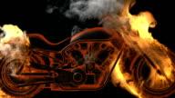 chopper bike in fire. Alpha matted video