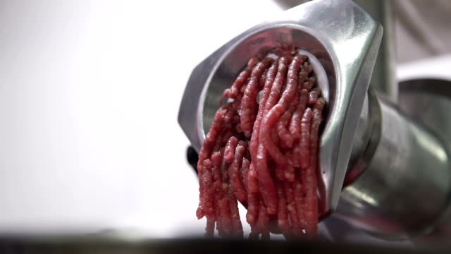 chopper makes minced forcemeat cooking in industrial kitchen video