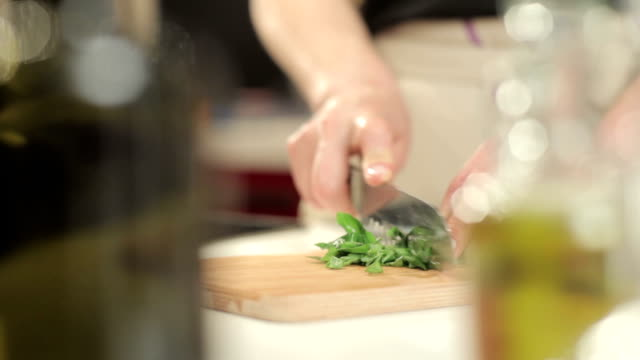 chopping basil video