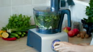 Chopping fresh greens in blender for hash video