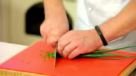 Chopping green onions on a board video