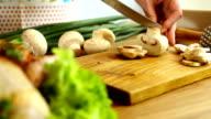 chopping mushrooms video