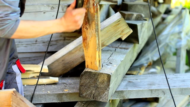Chops boards with an ax video