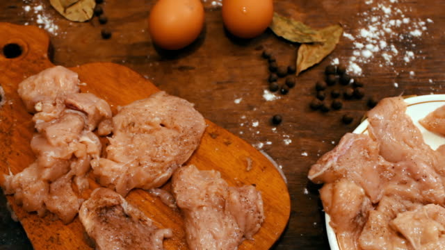 Chops of chicken sprinkled with salt and black pepper video