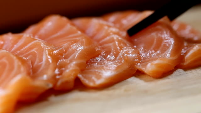 chopstick with sashimi, Japanese food video