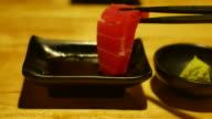 Chopstick with sashimi, Japanese food video