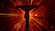 Christ on Cross Divine Gold-Worship Loopable Background video