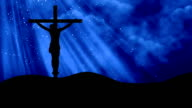 Christ on Cross Rays Blue-Worship Loopable Background video