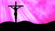 Christ on Cross Rays Pink-Worship Loopable Background video