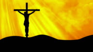 Christ on Cross Rays Yellow-Worship Loopable Background video