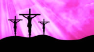 Christ on Three Crosses Pink-Worship Loopable Background video