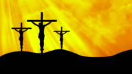 Christ on Three Crosses Yellow-Worship Loopable Background video
