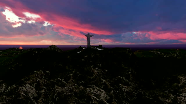 Christ the Redemeer,Rio,clouds over the city video