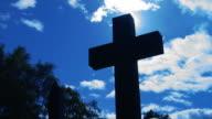 Christian cross and sun. video