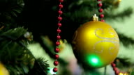 Christmas and New Year tree decoration, garland and toys video