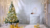 Christmas background. Room decorated for New year, Christmas celebration. No people video