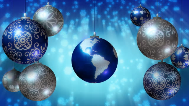 Christmas background with Earth as Xmas bauble. Loopable. video