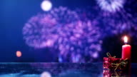christmas background with fireworks seamless loop video