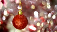 Christmas balls on abstract background (soft focus) video
