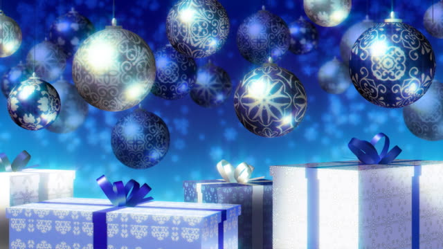 Christmas baubles and gifts. Blue, Silver. Loopable. video