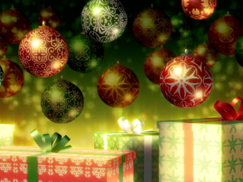 Christmas baubles and gifts. Red, Green, Gold. Loopable. PAL version. video