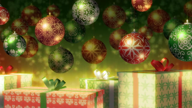 Christmas baubles and gifts. Red, Green, Gold. Loopable. video