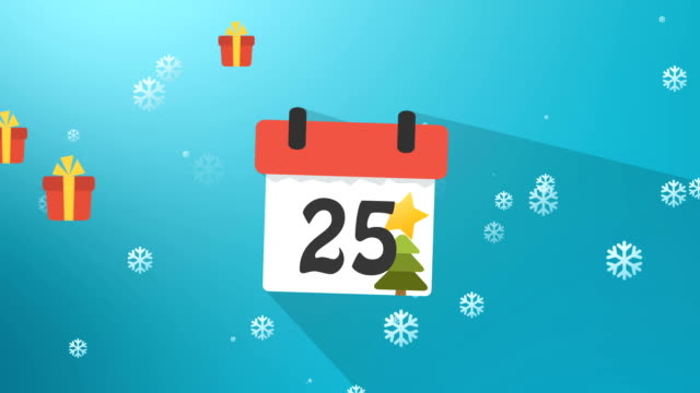 Christmas Calendar 1 to 25 Blue Infographics video
