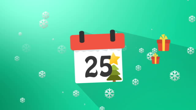 Christmas Calendar Green Infographics video