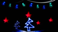 Christmas Card, Neon, Lights, Christmas Tree video