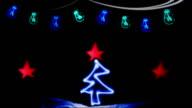 Christmas Card, Neon, Lights, Christmas Tree video