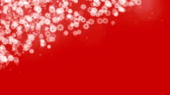 Christmas Corner Frame with Snowflakes on Red Background. video