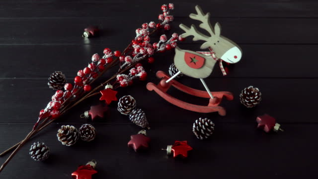 Christmas decoration and toy on the dark table top video