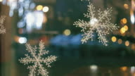 Christmas decoration at window. video