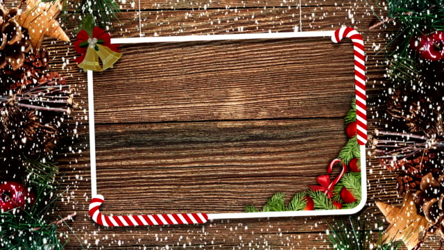 Christmas decoration frame with snow video