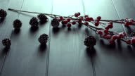 Christmas decoration on black table top view video