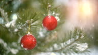 Christmas decoration on pine branch slowmotion seamless loop video