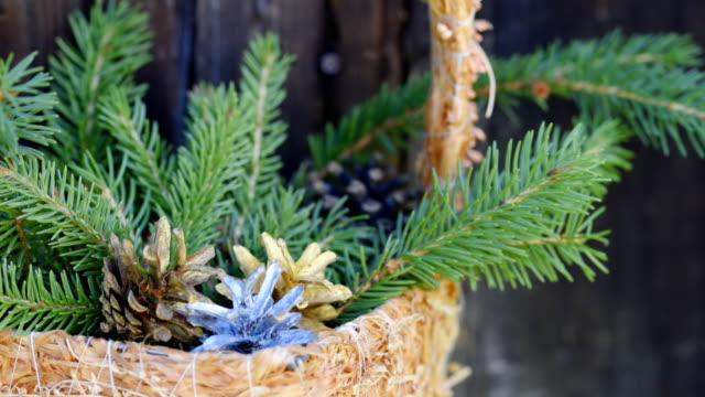 Christmas decoration over grey wood video