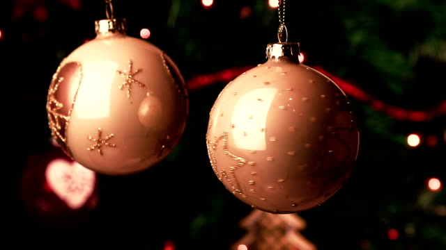 christmas decoration white balls. abstract blurred bokeh holiday background video
