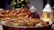 Christmas decoration with snowman, candle, plaited loaf, depth of field video